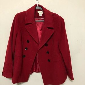 St. John's Bay Red Wool/Cashmere Blend Pea Coat